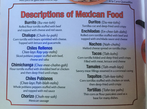 Pancho's Food Guide